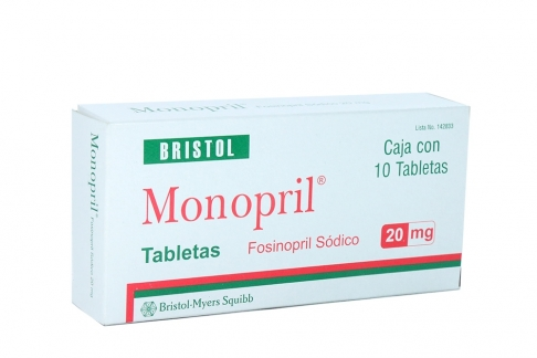 Monopril 20 mg Caja Con 10 Tabletas Rx