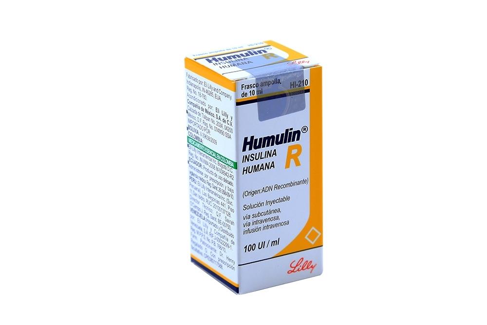 Humulin R 100 U.I Caja x 1 Ampolla De 10 mL Rx3