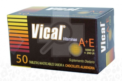 Vical 5000 UI / 200 UI Caja x 50 Tabletas Masticables Saborizadas