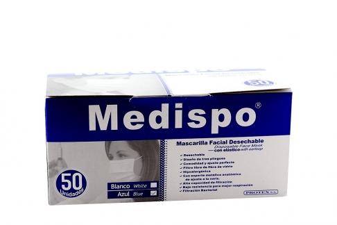 Tapabocas Elástico Medispo Azul Caja Con 50 Unidades