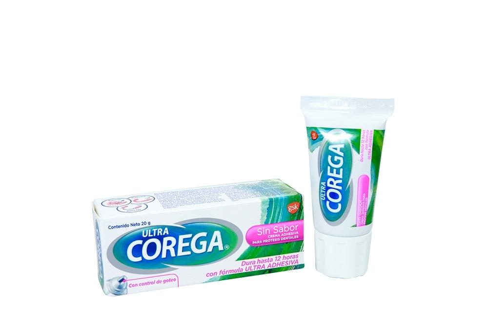 Crema Adhesiva Corega Ultra Sin Sabor Caja Con Tubo Con 20 g