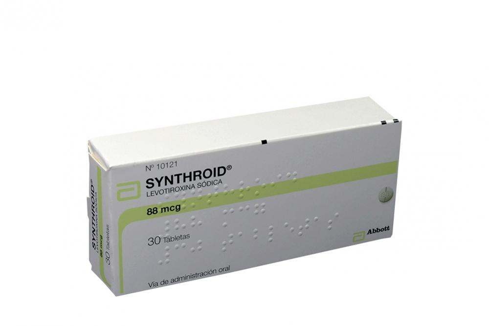 Synthroid 88 mcg Caja Con 30 Tabletas Rx
