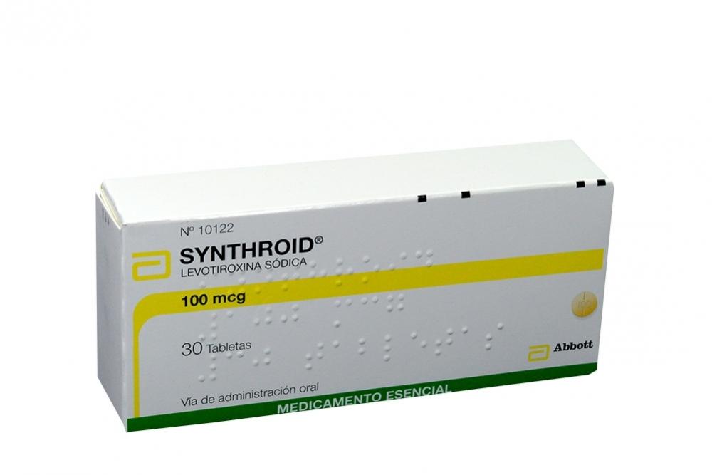 Synthroid 100 mcg Caja X 30 Tabletas Rx ...