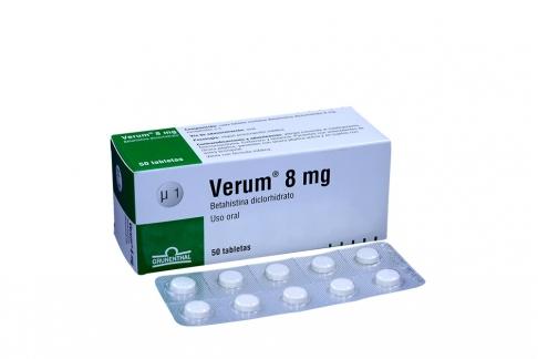 Verum 8 mg Caja Con 50 Tabletas Rx4