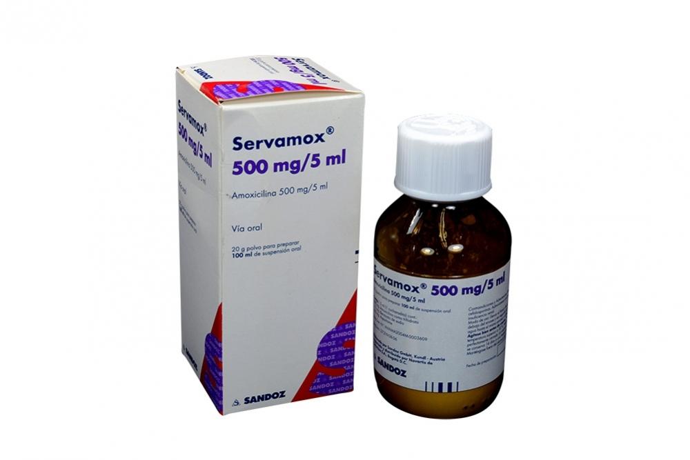 Servamox 500 mg / 5 mL Caja Con Frasco Con 100 mL Rx2