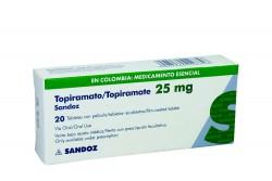 Topiramato 25 mg Caja Con 20 Tabletas Con Película