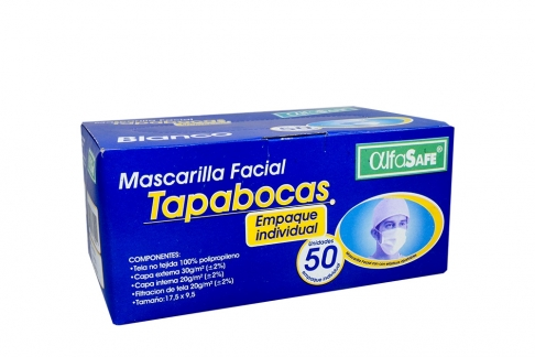 Tapabocas Alfa Safe Color Blanco Con Elástico Caja Con 50 Unidades