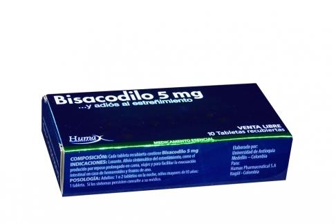 Bisacodilo 5 mg Caja Con 10 Tabletas Recubiertas