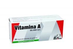 Vitamina A 50.000 UI Caja Con 30 Cápsulas Blandas De Gelatina Rx