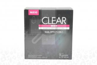 Shampoo Clear Men 2 En 1 - Caja Con 20 Unidades