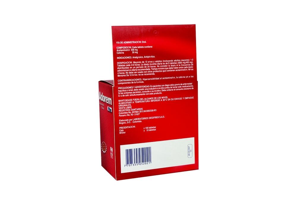 comprar adorem plus caja con 100 tabletas en farmalisto colombia