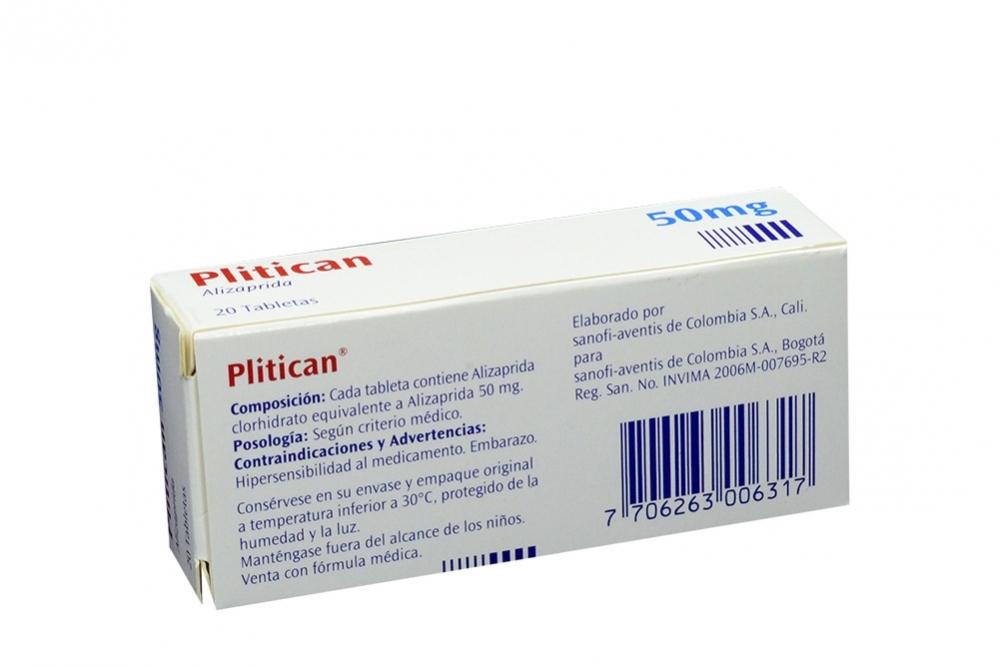 comprar plitican 50 mg caja 20 tabletas en farmalisto colombia