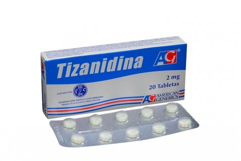 Tizanidina 2 mg Caja Con 20 Tabletas Rx