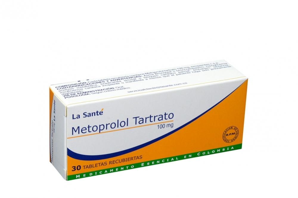 Metoprolol Tartrato 100 mg Caja Con 30 Tabletas Rx