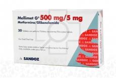 Mellimet G 500 mg / 5 mg Caja x 30 Tabletas Recubiertas Rx4