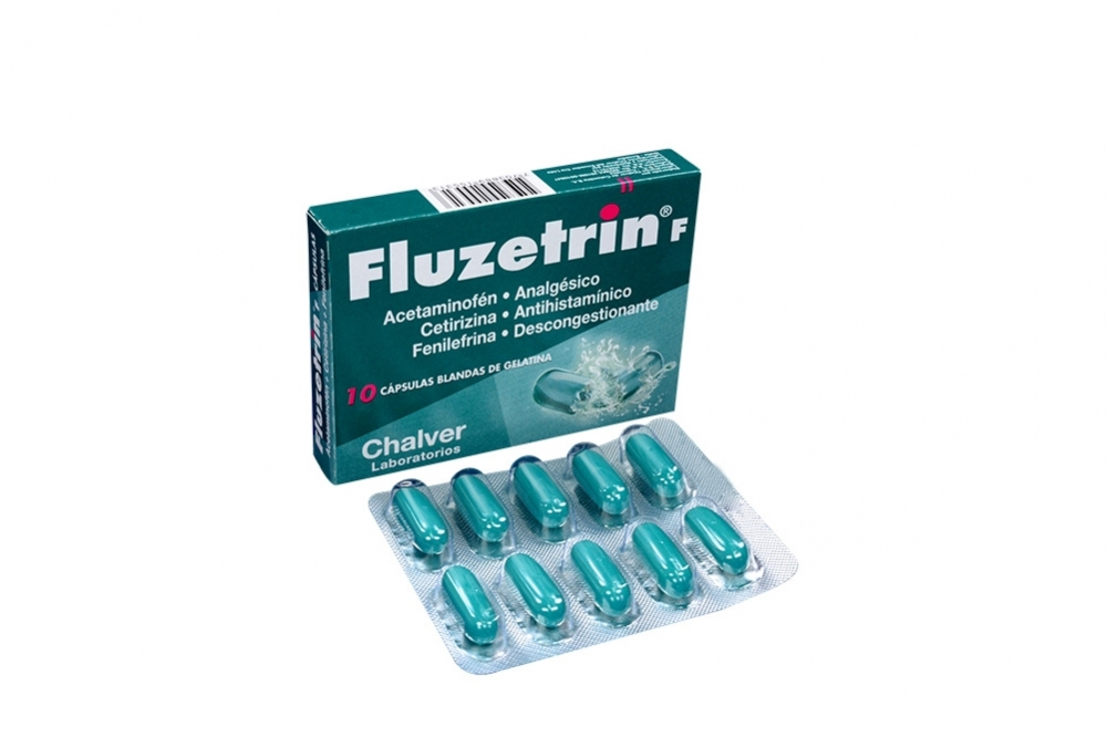 Chalver Fluzetrin F Caja Con 10 Cápsulas Blandas De Gelatina