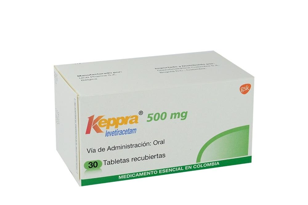 Keppra 500 mg Caja Con 30 Tabletas Recubiertas Rx4 Rx1