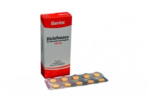 Diclofenaco 100 mg Caja Con 20 Tabletas Rx