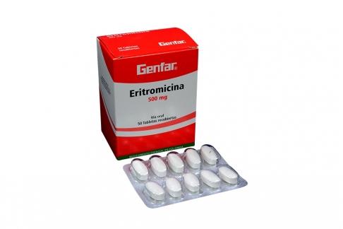 Eritromicina 500 mg Caja Con 50 Tabletas Recubiertas Rx2