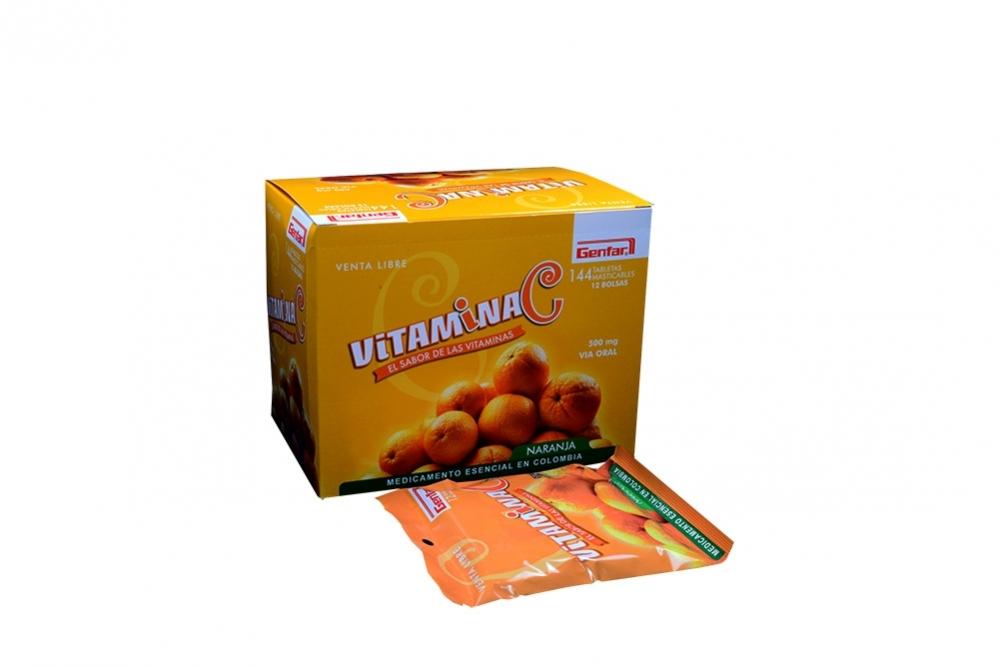 Vitamina C 500 mg Caja Con 144 Tabletas Masticables - Naranja