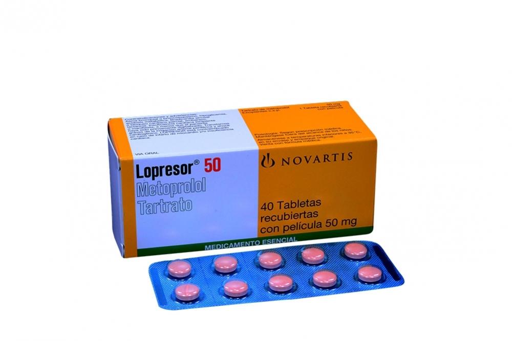 Lopresor 50 mg Caja Con 40 Tabletas Recubiertas Rx