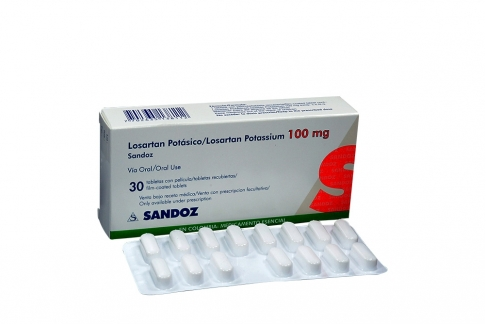 Losartán Potásico 100 mg Caja Con 30 Tabletas Recubiertas Rx4