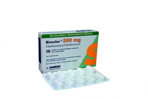 Binoclar 500 mg Caja Con 10 Tabletas Rx2