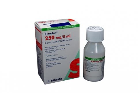 Binoclar 250 mg / 5 mL Suspensión Oral Caja Con Frasco Con 60 mL Rx2