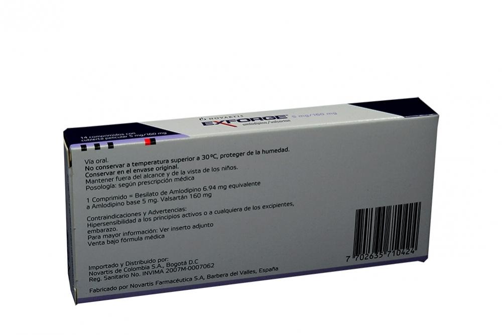 Comprar Exforge Caja Con 14 comprimidos. En Farmalisto