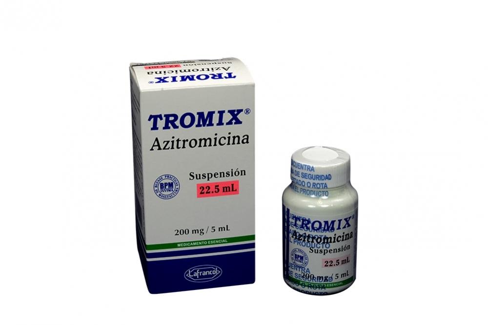 Tromix Azitromicina Suspensión 200 mg / 5 mL Caja Con Frasco Con 22.5 mL Rx2