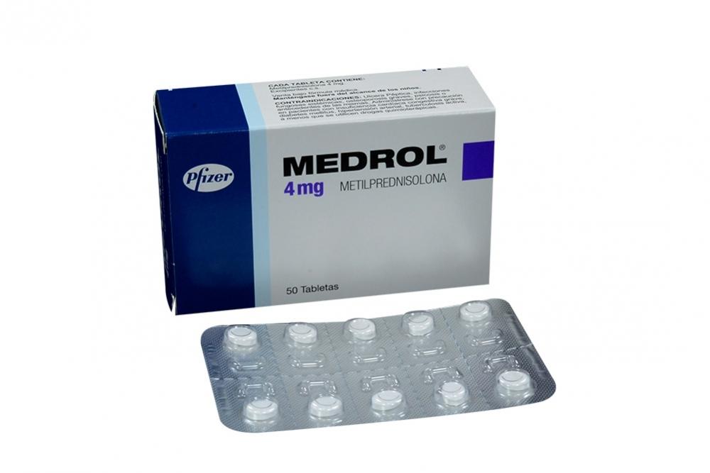 PFIZER - MEDROL 4MG X 50 TABLETAS - METILPREDNISOLONA