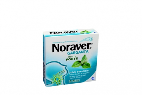 Noraver-P Garganta 10 / 1.4 mg Caja Con 12 Pastillas - Menta Forte