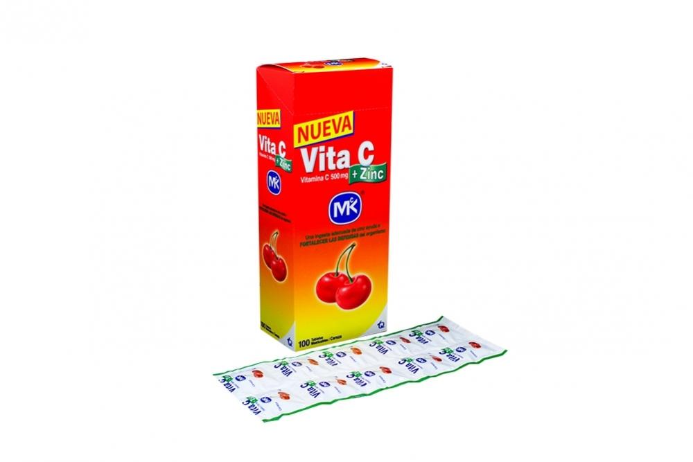 Vita C + Zinc 500 mg Caja Con 100 Tabletas Masticables – Sabor Cereza
