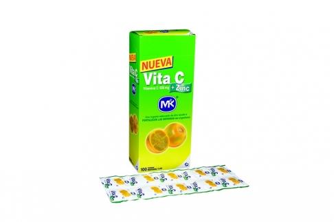 Vita C + Zinc 500 mg Caja Con Frasco Con 100 Tabletas Masticables – Sabor Lulo