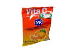 Vita C + Zinc 500 mg Bolsa Con 12 Tabletas Masticables – Sabor Mandarina