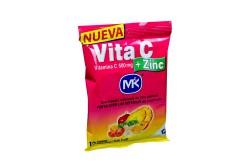 Vita C + Zinc 500 mg Bolsa Con 12 Tabletas Masticables – Sabor Tutti Frutti