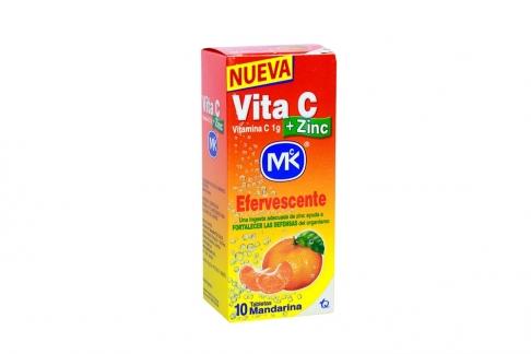 VITAMINA C Y ZINC EFERVESCENTE  1 G CAJA X 10 TABLETAS SABOR A MANDARINA