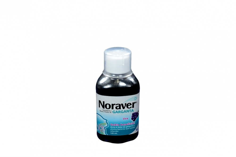 Noraver Garganta Frasco Con 120 mL - Sabor Uva