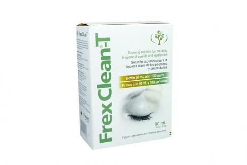 Frex Clean T Solución Espumosa Limpieza Párpados Caja Con Frasco Con 80 mL + 100 Pañuelos