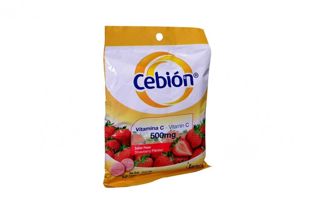 Cebion Vitamina C 500 mg Sabor Fresa Sobre Con 12 Tabletas Masticables