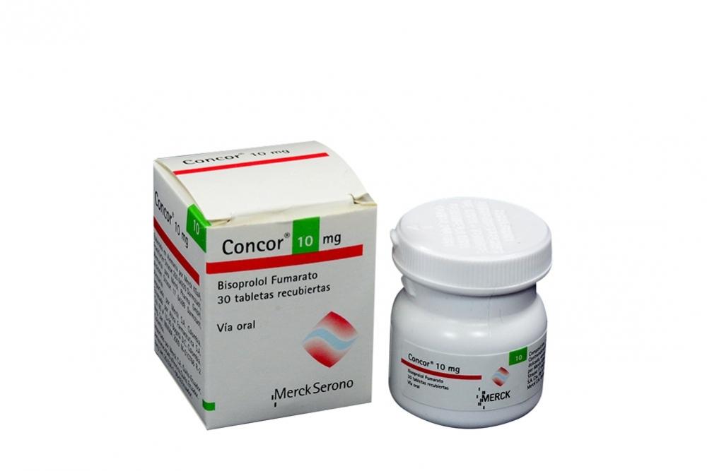 Concor 10 mg Caja Con Frasco Con 30 Tabletas Recubiertas Rx R1