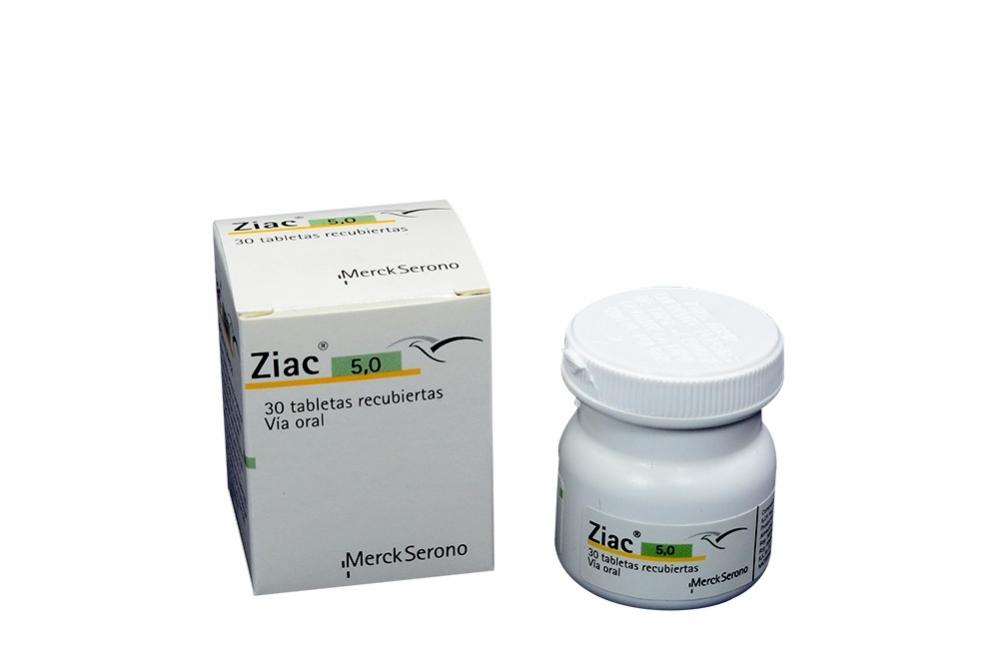 Ziac 5.0 mg Caja Con Frasco Con 30 Tabletas Recubiertas Rx