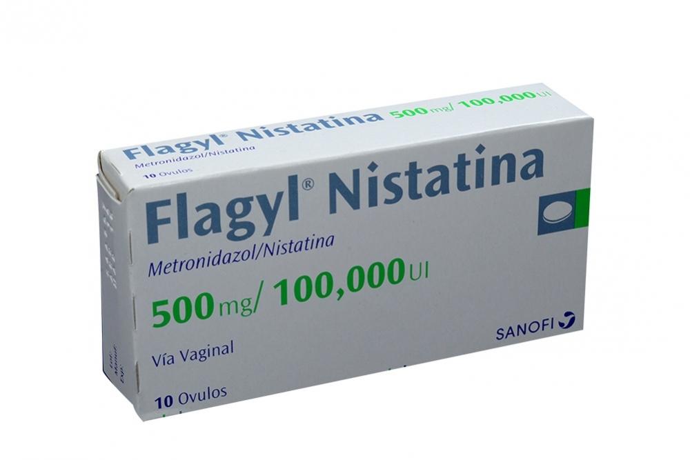 Flagyl Nistatina 500 mg / 100.000 UI Caja Con 10 Óvulos Rx2