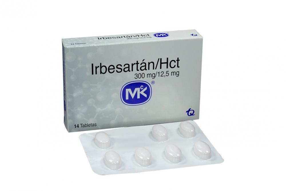 Irbesartán Hct 300 / 12,5 mg Caja Con 14 Tabletas Rx4