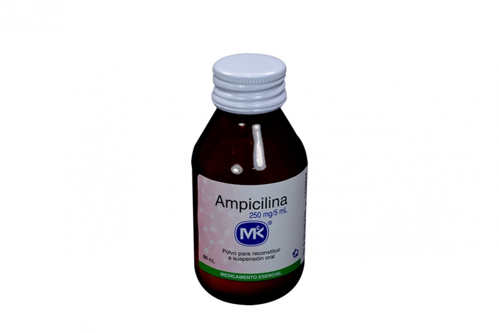 Ampicilina Polvo Para Suspensión 250 mg / 5 mL Frasco Con 60 mL Rx2