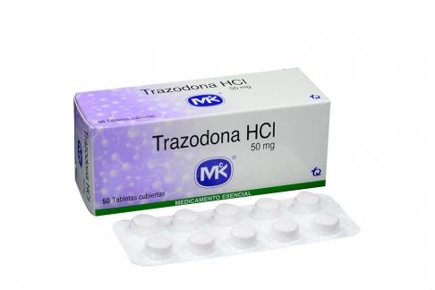 Trazadona HCI 50 mg Caja Con 50 Tabletas Recubiertas Rx