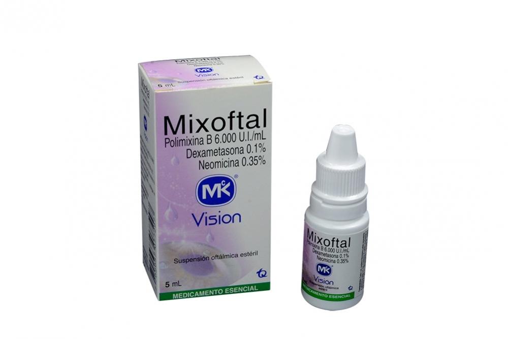 Mixoftal 6.000 U.I / mL 0.1 / 0.5 % Caja Con Frasco Con 5 mL Rx