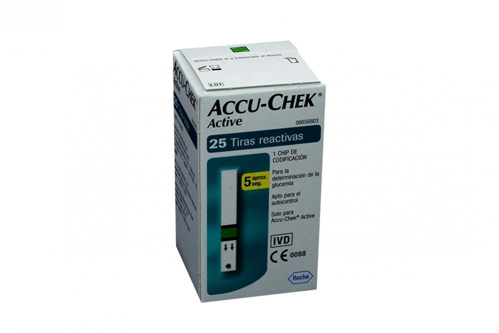 a399c05f4 Accu Chek Active Mic Caja Con 25 Tiras De Glucometría- Glucemia ...