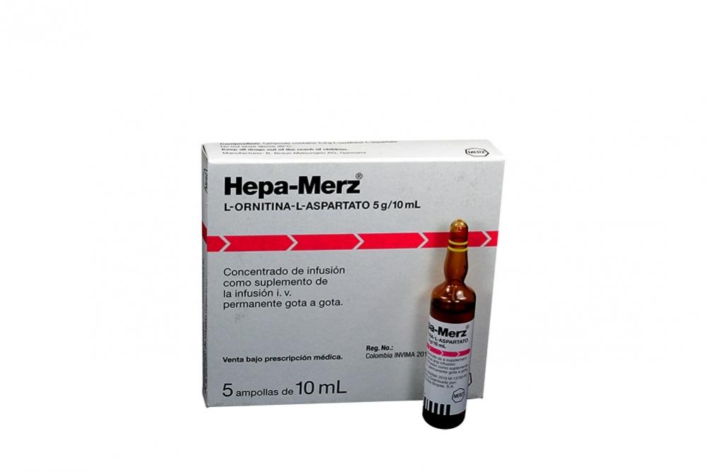 Hepa-Merz Concentrado De Infusión 5 g / 10 mL Caja Con 5 Ampollas Rx