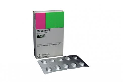Mirapex ER 1.5 mg Caja Con 30 Comprimidos De Liberación Prolongada Rx4 Rx1